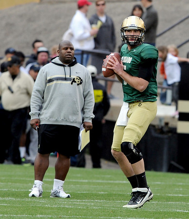 "Eric Bieniemy and Connor Wood during the Spring game.<br /> For more photos of the game, go to  <a href=""http://www.dailycamera.com"">http://www.dailycamera.com</a><br /> Cliff Grassmick / April 14, 2012"