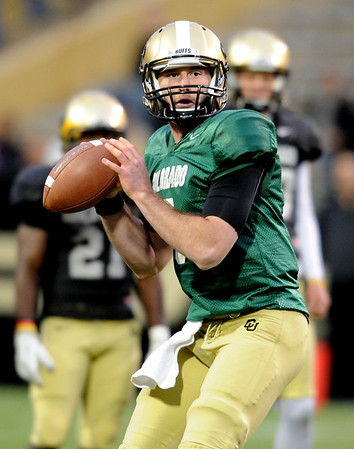 """CU QB, Connor Wood, during the Spring game.<br /> For more photos of the game, go to  <a href=""""http://www.dailycamera.com"""">http://www.dailycamera.com</a><br /> Cliff Grassmick / April 14, 2012"""