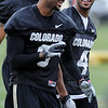 "Paul Richardson, left, and Keenan Canty, joke during Spring drills.<br /> For  more photos and a video of Embree, go to  <a href=""http://www.dailycamera.com"">http://www.dailycamera.com</a>.<br /> Cliff Grassmick / March 11, 2012"