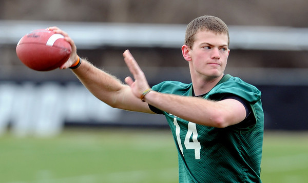"John Schrock throws during Spring drills on Sunday.<br /> For  more photos and a video of Embree, go to  <a href=""http://www.dailycamera.com"">http://www.dailycamera.com</a>.<br /> Cliff Grassmick / March 11, 2012"