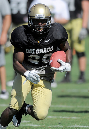 CU's Brian Lockridge breaks for the sideline during practice at the University of Colorado in Boulder, Colorado August 9, 2011.   CAMERA/Mark Leffingwell