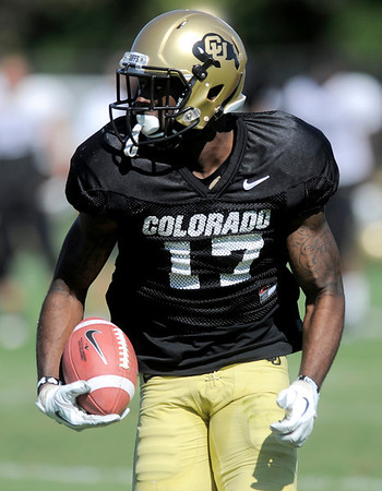 CU's Toney Clemons runs down the sideline during practice at the University of Colorado in Boulder, Colorado August 9, 2011.   CAMERA/Mark Leffingwell
