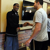 "Alec Burks, left, is congratulated by teammate, Austin Dufault.<br /> University of Colorado basketball player, Alec Burks, announced that he will  leave CU and enter the NBA draft. For more photos and videos of Burks, go to  <a href=""http://www.dailycamera.com"">http://www.dailycamera.com</a>.<br /> Cliff Grassmick/ April 21, 2011"