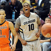 "CU Oregon St93.JPG Alec Burks is excited after his alley-oop pass to Marcus Relphorde for a dunk against Oregon State.<br /> For more photos of the game, go to  <a href=""http://www.dailycamera.com"">http://www.dailycamera.com</a>.<br /> Cliff Grassmick / December 4, 2010"