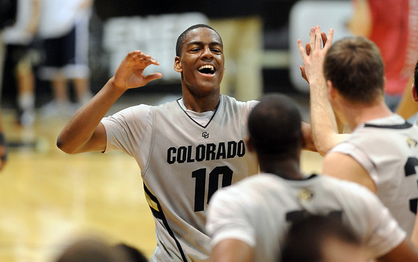 "Colorado Oklahoma State Men's Basketball228.JPG Alec Burks  of CU celebrates the 75-71 win over Oklahoma State.<br /> For more photos of the game, go to  <a href=""http://www.dailycamera.com"">http://www.dailycamera.com</a>.<br /> Cliff Grassmick / January 15, 2011"