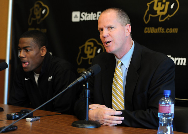"""Colorado basketball coach, Tad Boyle talks about Alec Burks leaving CU.<br /> University of Colorado basketball player, Alec Burks, left, announced that he will  leave CU and enter the NBA draft. For more photos and videos of Burks, go to  <a href=""""http://www.dailycamera.com"""">http://www.dailycamera.com</a>.<br /> Cliff Grassmick/ April 21, 2011"""