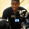 "Colorado Men practice10.JPG Alec Burks talks to a television station before Tuesday's practice.<br /> For more photos and a video interview, go to  <a href=""http://www.dailycamera.com"">http://www.dailycamera.com</a>.<br /> Cliff Grassmick / March 15, 2011"