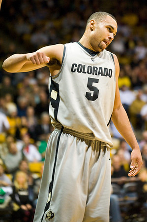 S0113CUBASKET04.jpg S0113CUBASKET04<br /> Cu's #5, Marcus Relphorde pumps his fist after being fouled under the hoop in the first half by Baylors' #13, Ekpe Udoh during CU's 78-71 victory at the Coors Event Center in Boulder Colorado on Tuesday evening, January 12th, 2010.<br /> <br /> Photo by: Jonathan Castner