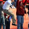 Iowa State coach Paul Rhoads, left, reacts during the fourth quarter of an NCAA college football game against Colorado, Saturday, Nov. 14, 2009, in Ames, Iowa. Iowa State won 17-10. (AP Photo/Charlie Neibergall)