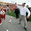 Iowa State coach Paul Rhoads celebrates with the marching band after his team's 17-10 win over Colorado in an NCAA college football game, Saturday, Nov. 14, 2009, in Ames, Iowa. (AP Photo/Charlie Neibergall)