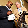 "CUFootball012Recruiting.JPG Former CU Buff and Heisman Trophy winner Rashaan Salaam signs a football for CU Alumnus Bill Yeates during the University of Colorado Football Preview Luncheon on Thursday, Feb. 3, at the Hyatt Regency Denver Convention Center in Denver. For a video and more photos of the event go to  <a href=""http://www.dailycamera.com"">http://www.dailycamera.com</a><br /> Photo by Jeremy Papasso"