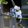 "Juda Parker, 2, works to strip the ball from a tackling dummy during practice on Sunday morning on the CU Boulder Campus. FOR MORE PHOTOS AND VIDEO INTERVIEWS FROM PRACTICE GO TO  <a href=""http://WWW.DAILYCAMERA.COM"">http://WWW.DAILYCAMERA.COM</a><br /> Photo by Paul Aiken  August 7, 2011."