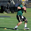 "Tyler Hansen 9, moves around cones in a quarterback footwork drill during practice on Sunday morning on the CU Boulder Campus. FOR MORE PHOTOS AND VIDEO INTERVIEWS FROM PRACTICE GO TO  <a href=""http://WWW.DAILYCAMERA.COM"">http://WWW.DAILYCAMERA.COM</a><br /> Photo by Paul Aiken  August 7, 2011."