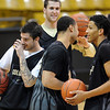 "Nate Tomlinson, left, Marcus Relphorde, and Andre Roberson, have a lighter moment druing practice.<br /> For more photos and a video interview, go to  <a href=""http://www.dailycamera.com"">http://www.dailycamera.com</a>.<br /> Cliff Grassmick / March 15, 2011"