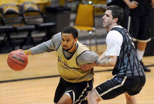 """Carlon Brown during NIT practice.<br /> For more photos and a video interview, go to  <a href=""""http://www.dailycamera.com"""">http://www.dailycamera.com</a>.<br /> Cliff Grassmick / March 15, 2011"""