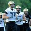University of Colorado offensive tackle Nate Solder, at front, hustles off the field with his teammates for a water break during the second Buff's football practice on Friday, Aug. 6, at the University of Colorado practice field in Boulder.<br /> Jeremy Papasso/ Camera