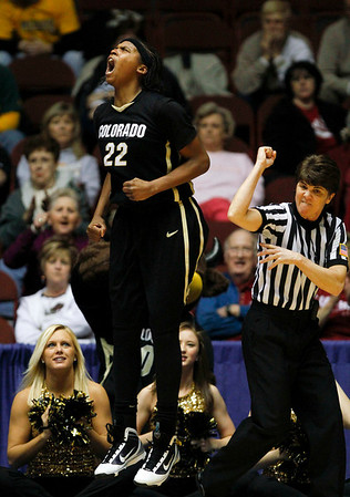 Colorado's Brittany Spears (22) reacts after scoring and getting fouled as an official makes the call in the second half of a college NCAA basketball game against Baylor at the Big 12 Women's basketball tournament Thursday, March 11, 2010, in Kansas City, Mo. Spears scored 24 points in their 72-65 loss. (AP Photo/Ed Zurga)
