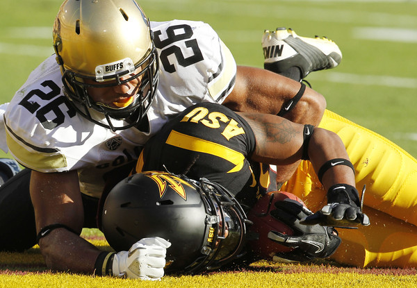 Arizona State's Jamal Miles, right, makes a diving catch for a touchdown in front of Colorado's Ray Polk (26) in the first quarter of an NCAA college football game Saturday, Oct. 29, 2011, in Tempe, Ariz. (AP Photo/Ross D. Franklin)