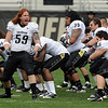 B.J. Beaty (59) leads the CU White team in a Maori Haka  warrior chant before the CU Spring on Saturday.<br /> Cliff Grassmick / April 10, 2010
