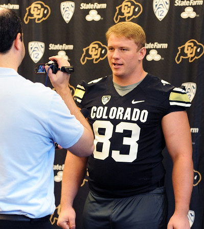 "Wiil Pericak answers questions from the press during CU Football Media Day on Saturday.<br /> For more photos and videos of media day and practice, go to  <a href=""http://www.dailycamera.com"">http://www.dailycamera.com</a>.<br /> Cliff Grassmick  / August 11, 2012"