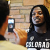 "Nate Bonsu answers questions from the press during CU Football Media Day on Saturday.<br /> For more photos and videos of media day and practice, go to  <a href=""http://www.dailycamera.com"">http://www.dailycamera.com</a>.<br /> Cliff Grassmick  / August 11, 2012"