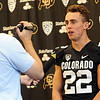"Nelson Spruce answers questions from the press during CU Football Media Day on Saturday.<br /> For more photos and videos of media day and practice, go to  <a href=""http://www.dailycamera.com"">http://www.dailycamera.com</a>.<br /> Cliff Grassmick  / August 11, 2012"