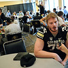 "Jack Harris answers questions from the press during CU Football Media Day on Saturday.<br /> For more photos and videos of media day and practice, go to  <a href=""http://www.dailycamera.com"">http://www.dailycamera.com</a>.<br /> Cliff Grassmick  / August 11, 2012"