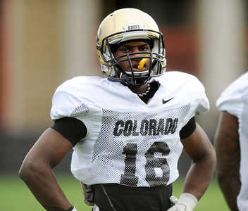 Jeffery Hall  at CU practice on Saturday. For more photos and videos of media day,  go to www.dailycamera.com. Cliff Grassmick / August 11, 2012