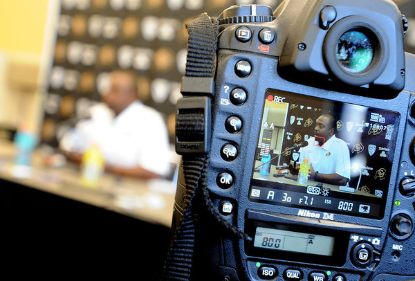 "Jon Embree is videotaped during his football media day press conference.<br /> For more photos and videos of media day and practice, go to  <a href=""http://www.dailycamera.com"">http://www.dailycamera.com</a>.<br /> Cliff Grassmick  / August 11, 2012"