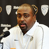 "Jon Embree answers questions from the press during CU Football Media Day on Saturday.<br /> For more photos and videos of media day and practice, go to  <a href=""http://www.dailycamera.com"">http://www.dailycamera.com</a>.<br /> Cliff Grassmick  / August 11, 2012"
