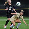 "Toni Smith, left, of LIU-Brooklyn,  and Amy Barczuk of CU, chase down a ball.<br /> For more photos of the game, go to  <a href=""http://www.dailycamera.com"">http://www.dailycamera.com</a>.<br /> Cliff Grassmick  / August 24, 2012"