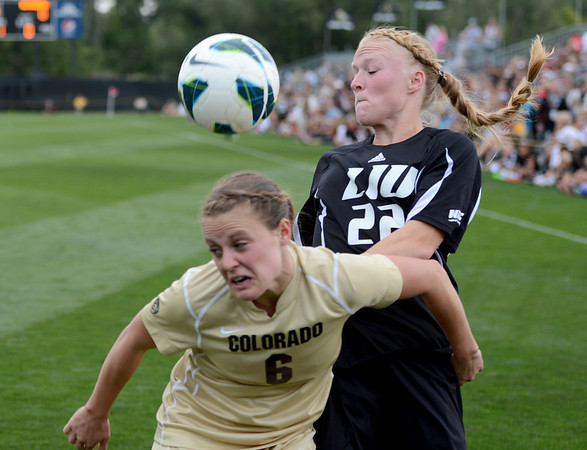 """Hayley Hughes (6) of CU, and Toni Smith of LIU-Brooklyn battle for control.<br /> For more photos of the game, go to  <a href=""""http://www.dailycamera.com"""">http://www.dailycamera.com</a>.<br /> Cliff Grassmick  / August 24, 2012"""
