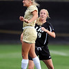 """Anne Stuller, left, of CU, goes up on Lauryn Bretches of LIU-Brooklyn.<br /> For more photos of the game, go to  <a href=""""http://www.dailycamera.com"""">http://www.dailycamera.com</a>.<br /> Cliff Grassmick  / August 24, 2012"""