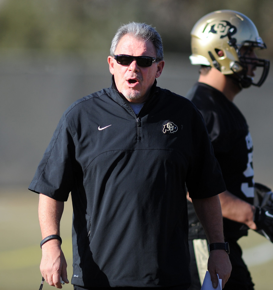 "Kent Baer during the first CU Spring practice on Thursday.<br /> For more photos of practice, go to  <a href=""http://www.dailycamera.com"">http://www.dailycamera.com</a>.<br /> Cliff Grassmick  / March 6, 2013"
