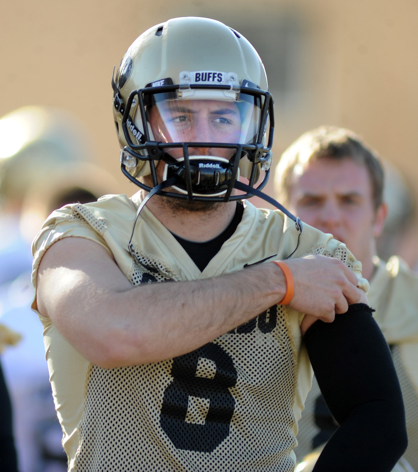 "CU quarterback, Nick Hirschman, at the first Spring football practice on Thursday.<br /> For more photos of practice, go to  <a href=""http://www.dailycamera.com"">http://www.dailycamera.com</a>.<br /> Cliff Grassmick  / March 6, 2013"