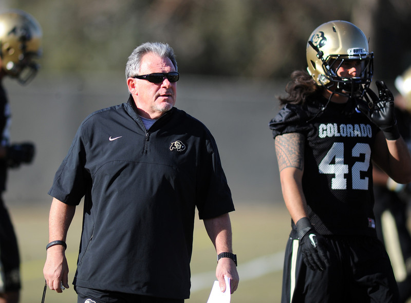 "Kent Baer during the first CU Spring practice on Thursday.For more photos of practice, go to  <a href=""http://www.dailycamera.com"">http://www.dailycamera.com</a>.<br /> Cliff Grassmick  / March 6, 2013"