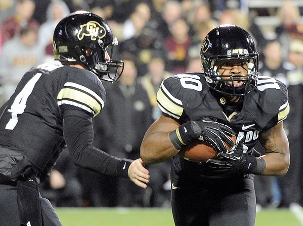 """University of Colorado's during a game against Arizona State on Thursday, Oct. 11, at Folsom Field in Boulder. Fore more photos of the game go to  <a href=""""http://www.dailycamera.com"""">http://www.dailycamera.com</a><br /> Jeremy Papasso/ Camera"""