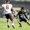 "University of Colorado's Terrel Smith goes in for a tackle on Cameron Marshall during a game against Arizona State on Thursday, Oct. 11, at Folsom Field in Boulder. Fore more photos of the game go to  <a href=""http://www.dailycamera.com"">http://www.dailycamera.com</a><br /> Jeremy Papasso/ Camera"