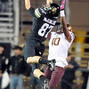 "Tyler McCulloch (87) of CU, doesn't make the catch on Keelan Johnson of ASU.<br /> For more photos of the game, go to  <a href=""http://www.dailycamera.com"">http://www.dailycamera.com</a><br /> Cliff Grassmick / October 11, 2012"