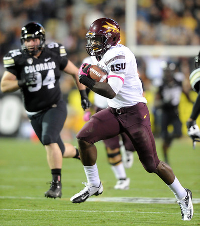 """Marion Grice of ASU scores the Devils first TD against CU.<br /> For more photos of the game, go to  <a href=""""http://www.dailycamera.com"""">http://www.dailycamera.com</a><br /> Cliff Grassmick / October 11, 2012"""