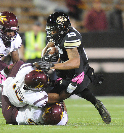 """Vincent Hobbs of CU makes a catch against ASU.<br /> For more photos of the game, go to  <a href=""""http://www.dailycamera.com"""">http://www.dailycamera.com</a><br /> Cliff Grassmick / October 11, 2012"""