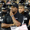 "Coach Jon Embree waits with the Buffs to run behind Ralphie.<br /> For more photos of the game, go to  <a href=""http://www.dailycamera.com"">http://www.dailycamera.com</a><br /> Cliff Grassmick / October 11, 2012"