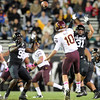 "Nate Bonsu, left, and Jon Major, both of CU, pressure Taylor Kelly of ASU.<br /> For more photos of the game, go to  <a href=""http://www.dailycamera.com"">http://www.dailycamera.com</a><br /> Cliff Grassmick / October 11, 2012"