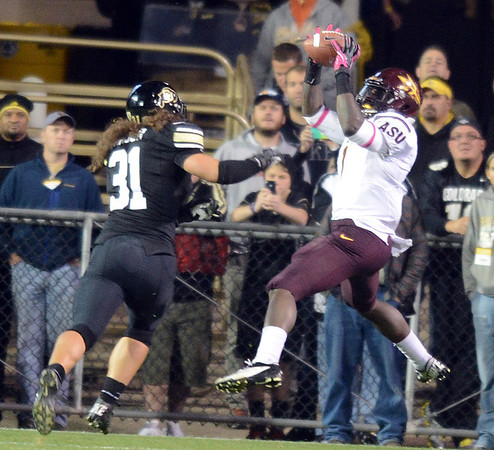 """Marion Grice of ASU, catches a TD pass in front of Jon Major of CU.<br /> For more photos of the game, go to  <a href=""""http://www.dailycamera.com"""">http://www.dailycamera.com</a><br /> Cliff Grassmick / October 11, 2012"""
