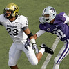 Colorado cornerback Jalil Brown (23) breaks up a long pass intended for Kansas State wide receiver Attrail Snipes (81) during the third quarter of an NCAA college football game Saturday, Oct. 24, 2009 in Manhattan, Kan. Kansas State won the game 20-6. (AP Photo/Charlie Riedel)