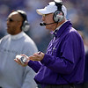 Kansas State coach Bill Snyder talks to his players during the second quarter of an NCAA college football game against Colorado Saturday, Oct. 24, 2009 in Manhattan, Kan. (AP Photo/Charlie Riedel)