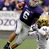 Kansas State quarterback Grant Gregory (6) gets past Colorado linebacker B.J. Beatty (59) for a short gain during the first quarter of an NCAA college football game Saturday, Oct. 24, 2009 in Manhattan, Kan. (AP Photo/Charlie Riedel)
