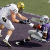 Kansas State defensive back Emmanuel Lamur (23) intercepts a pass intended for Colorado tight end Riar Geer (87) during the second quarter of an NCAA college football game Saturday, Oct. 24, 2009 in Manhattan, Kan. (AP Photo/Charlie Riedel)