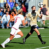 "Nikki Marshall of CU attacks the goal with Lauren Alkek of Oklahoma defending.<br />  For more photos of the game, go to  <a href=""http://www.dailycamera.com"">http://www.dailycamera.com</a>.<br /> Cliff Grassmick / October 2, 2009"