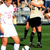 Nikki Marshall of CU hugs Kelly Butler (12) after Butler scores CU's second goal against OU.<br /> Cliff Grassmick / October 2, 2009